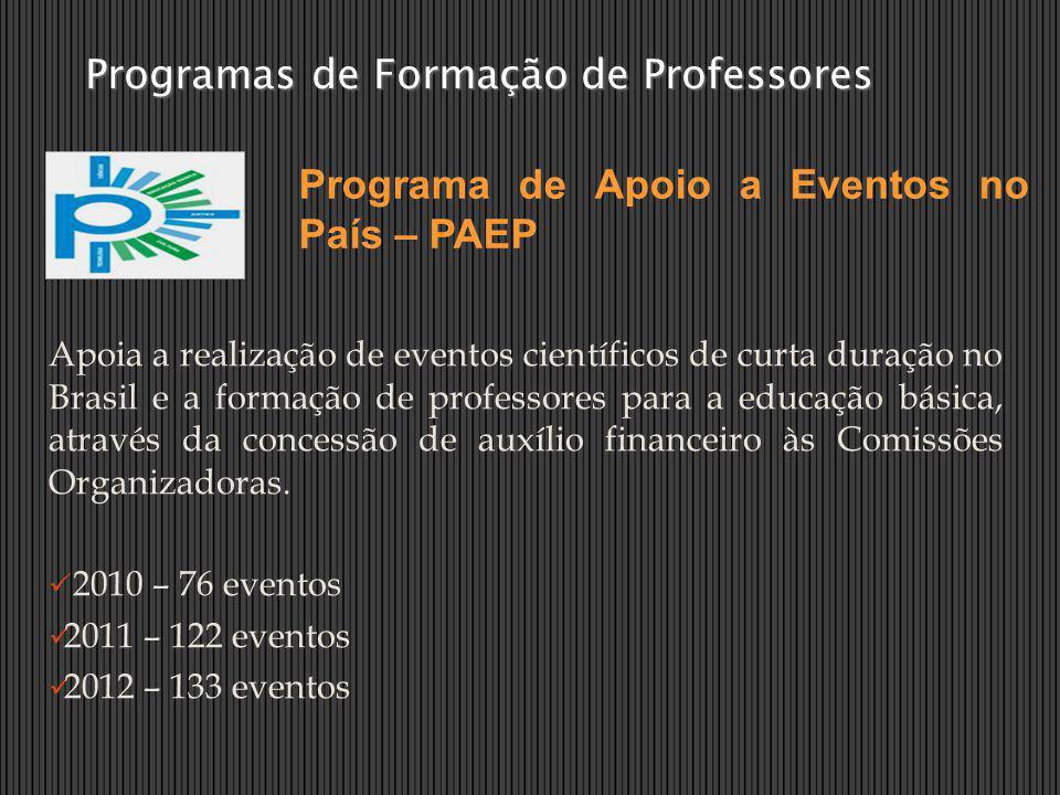 Apoia a realização de eventos científicos de curta duração no Brasil e a formação de professores para a educação básica, através da concessão de auxíl