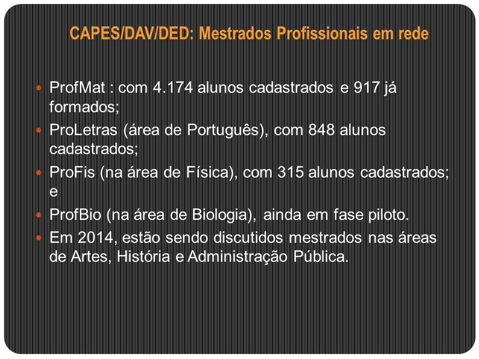CAPES/DAV/DED: Mestrados Profissionais em rede ProfMat : com 4.174 alunos cadastrados e 917 já formados; ProLetras (área de Português), com 848 alunos
