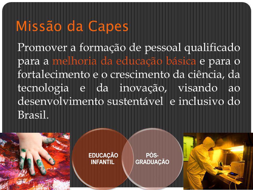 Missão da Capes Promover a formação de pessoal qualificado para a melhoria da educação básica e para o fortalecimento e o crescimento da ciência, da t