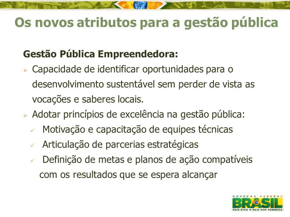 Os novos atributos para a gestão pública Gestão Pública Empreendedora:  Capacidade de identificar oportunidades para o desenvolvimento sustentável se