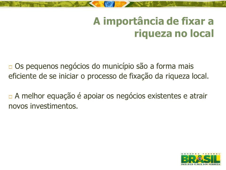  Os pequenos negócios do município são a forma mais eficiente de se iniciar o processo de fixação da riqueza local.  A melhor equação é apoiar os ne