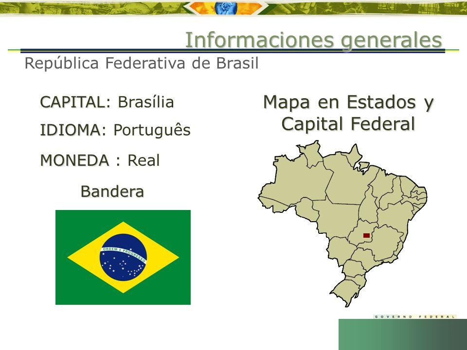 República Federativa de Brasil CAPITAL CAPITAL: Brasília IDIOMA IDIOMA: Português MONEDA MONEDA : Real Informaciones generales Bandera Mapa en Estados