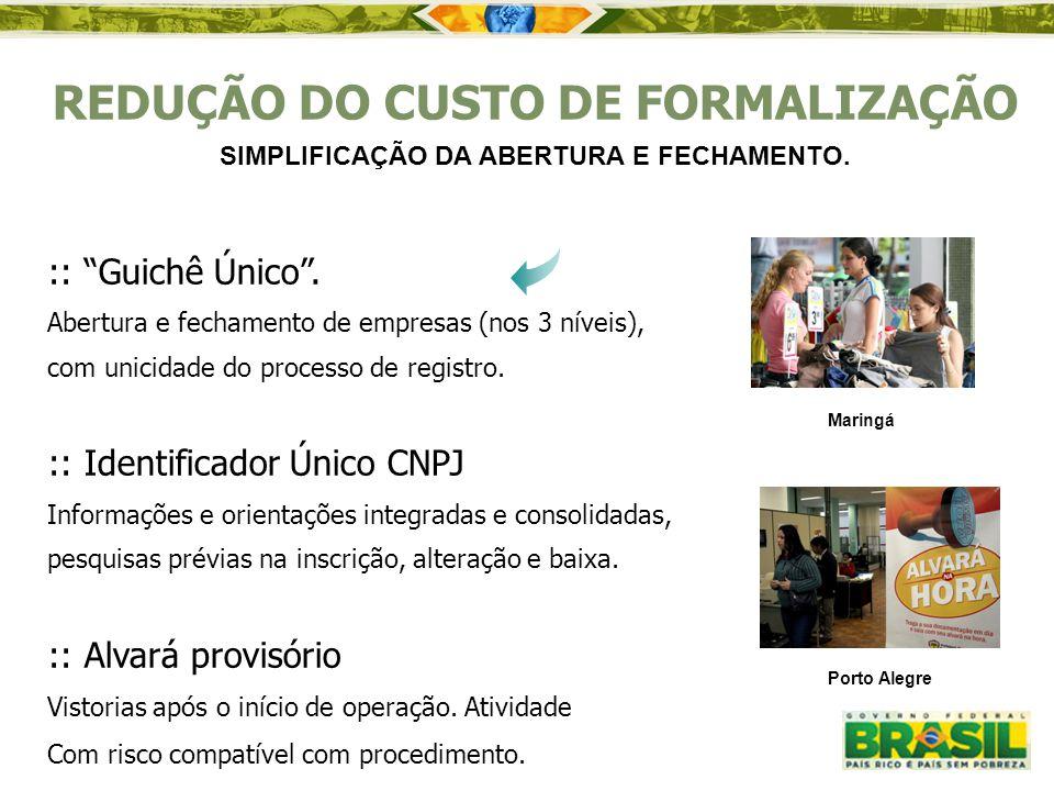 """:: """"Guichê Único"""". Abertura e fechamento de empresas (nos 3 níveis), com unicidade do processo de registro. :: Identificador Único CNPJ Informações e"""