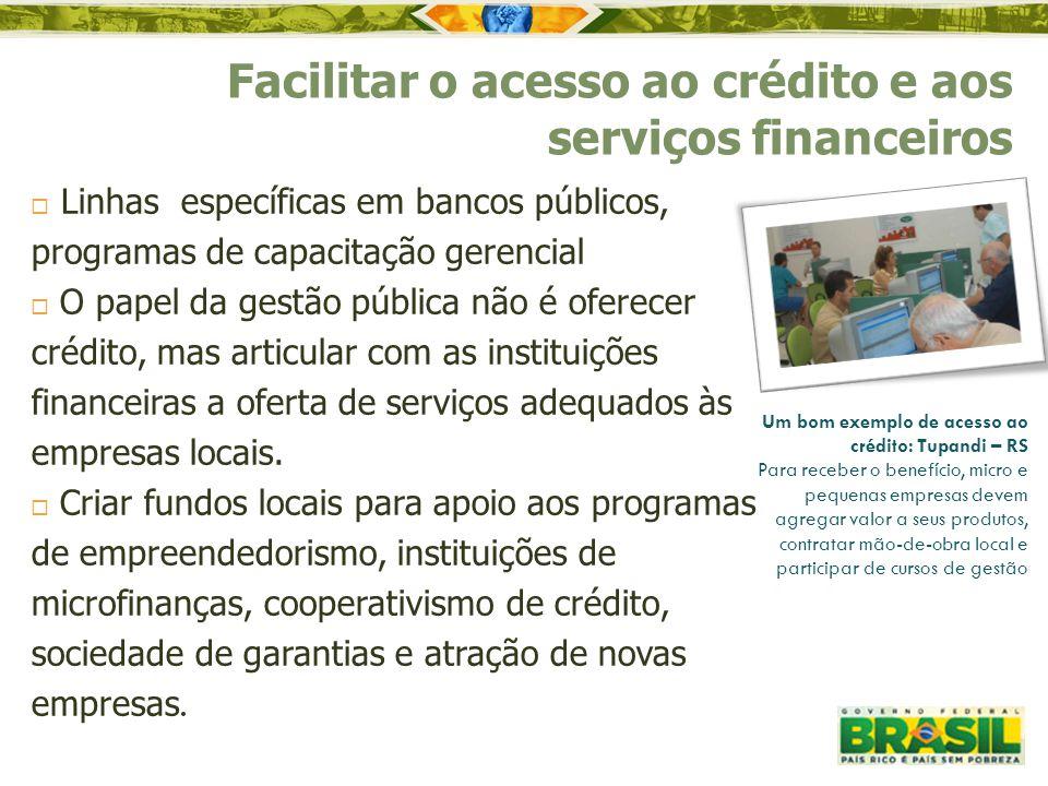  Linhas específicas em bancos públicos, programas de capacitação gerencial  O papel da gestão pública não é oferecer crédito, mas articular com as i