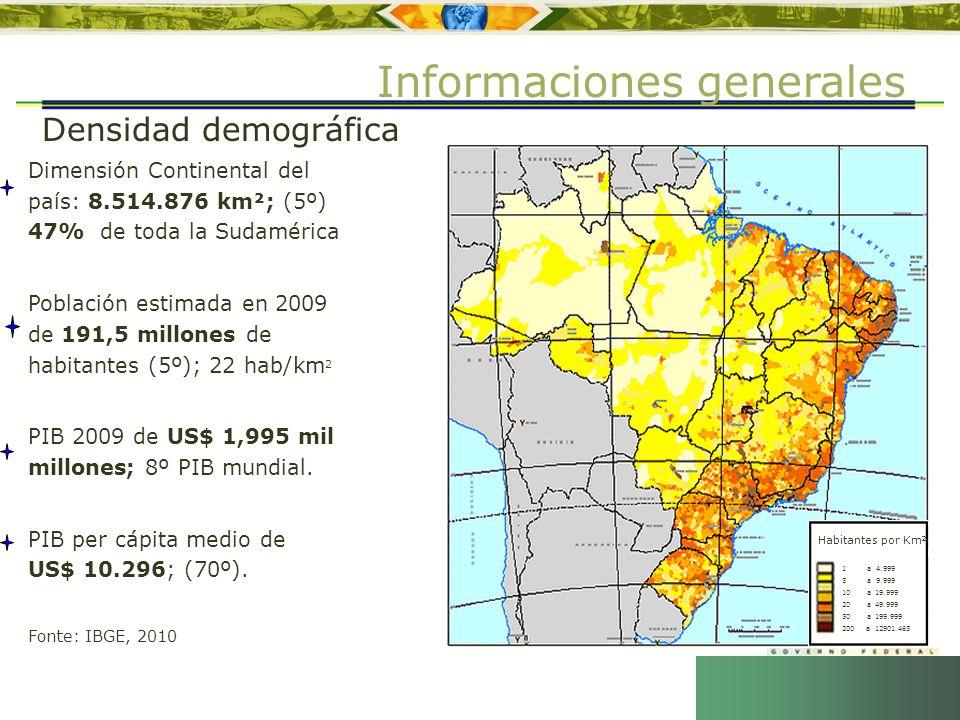 4 Dimensión Continental del país: 8.514.876 km²; (5º) 47% de toda la Sudamérica Población estimada en 2009 de 191,5 millones de habitantes (5º); 22 ha