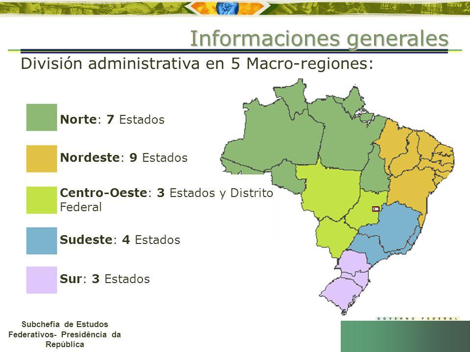 Subchefia de Estudos Federativos- Presidência da República División administrativa en 5 Macro-regiones: Informaciones generales Norte: 7 Estados Norde