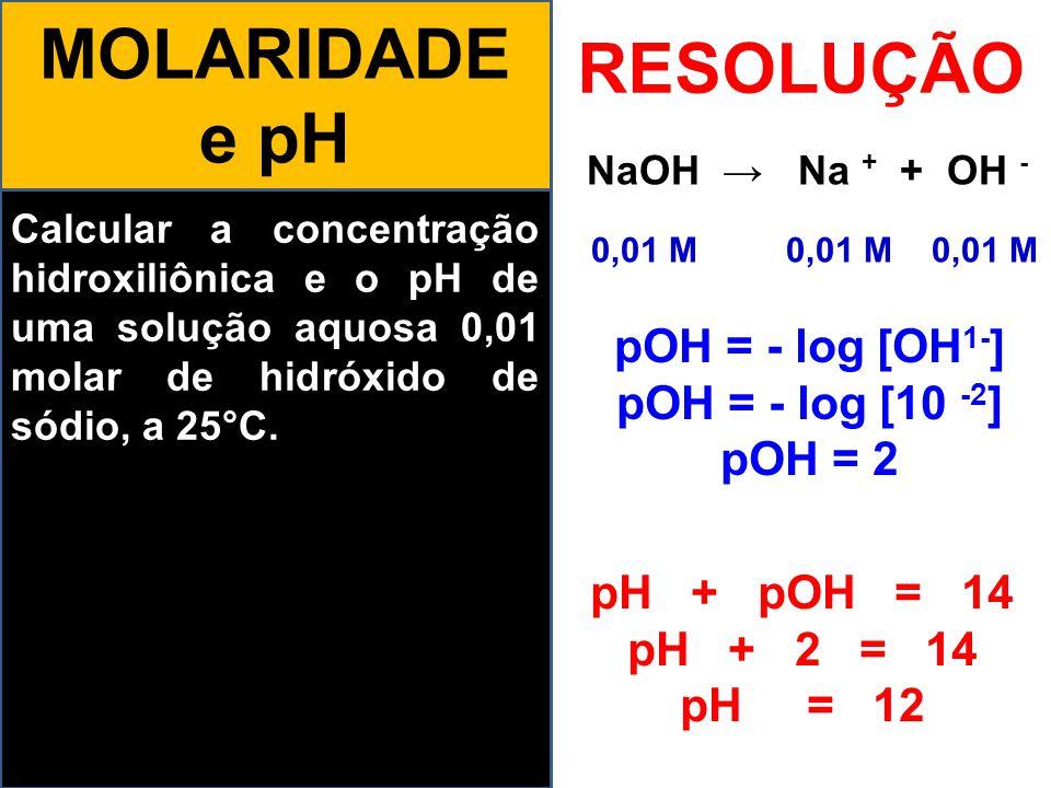 Calcular a concentração hidroxiliônica e o pH de uma solução aquosa 0,01 molar de hidróxido de sódio, a 25°C. MOLARIDADE e pH RESOLUÇÃO NaOH → Na + +