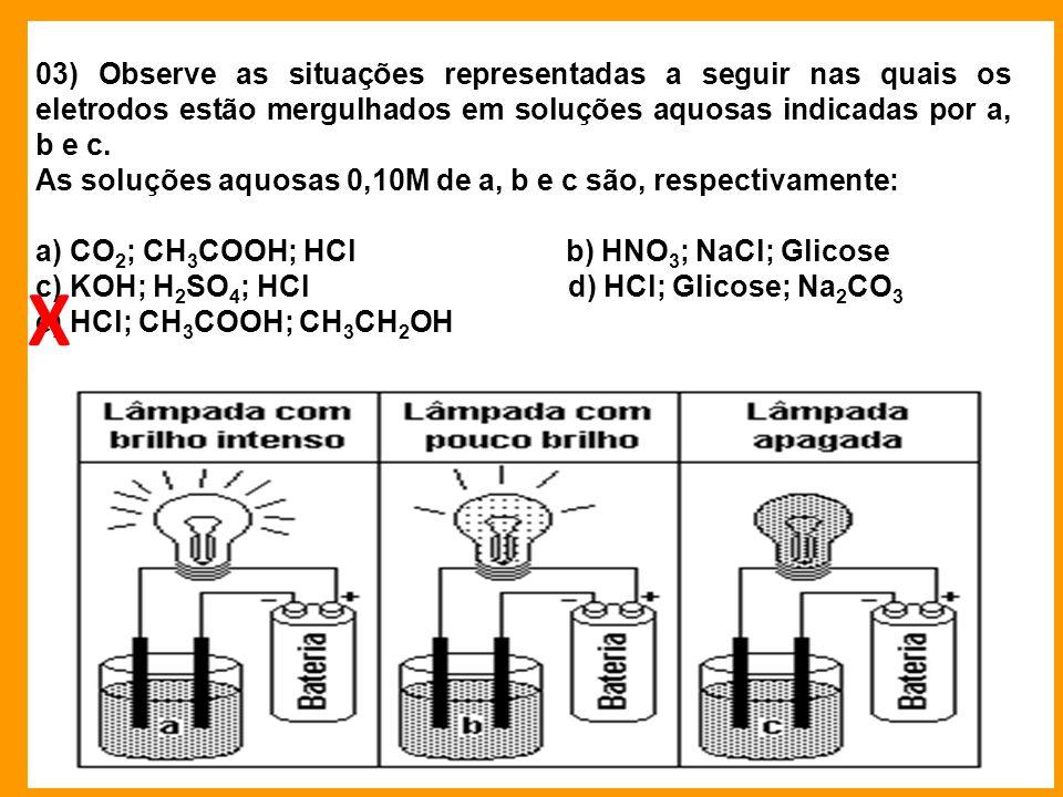 03) Observe as situações representadas a seguir nas quais os eletrodos estão mergulhados em soluções aquosas indicadas por a, b e c. As soluções aquos