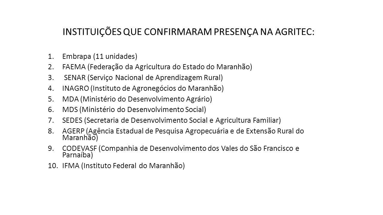 INSTITUIÇÕES QUE CONFIRMARAM PRESENÇA NA AGRITEC: 1.Embrapa (11 unidades) 2.FAEMA (Federação da Agricultura do Estado do Maranhão) 3.