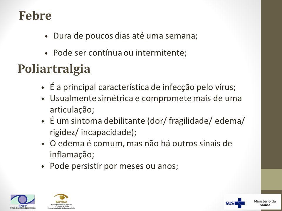 Febre Poliartralgia É a principal característica de infecção pelo vírus; Usualmente simétrica e compromete mais de uma articulação; É um sintoma debil