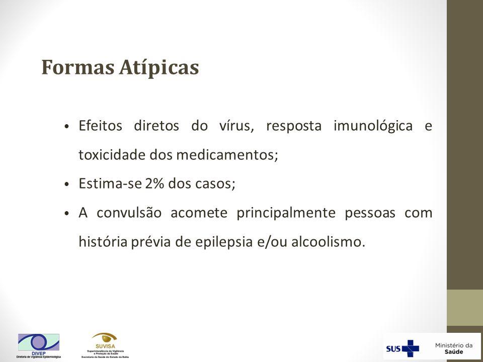 Efeitos diretos do vírus, resposta imunológica e toxicidade dos medicamentos; Estima-se 2% dos casos; A convulsão acomete principalmente pessoas com h