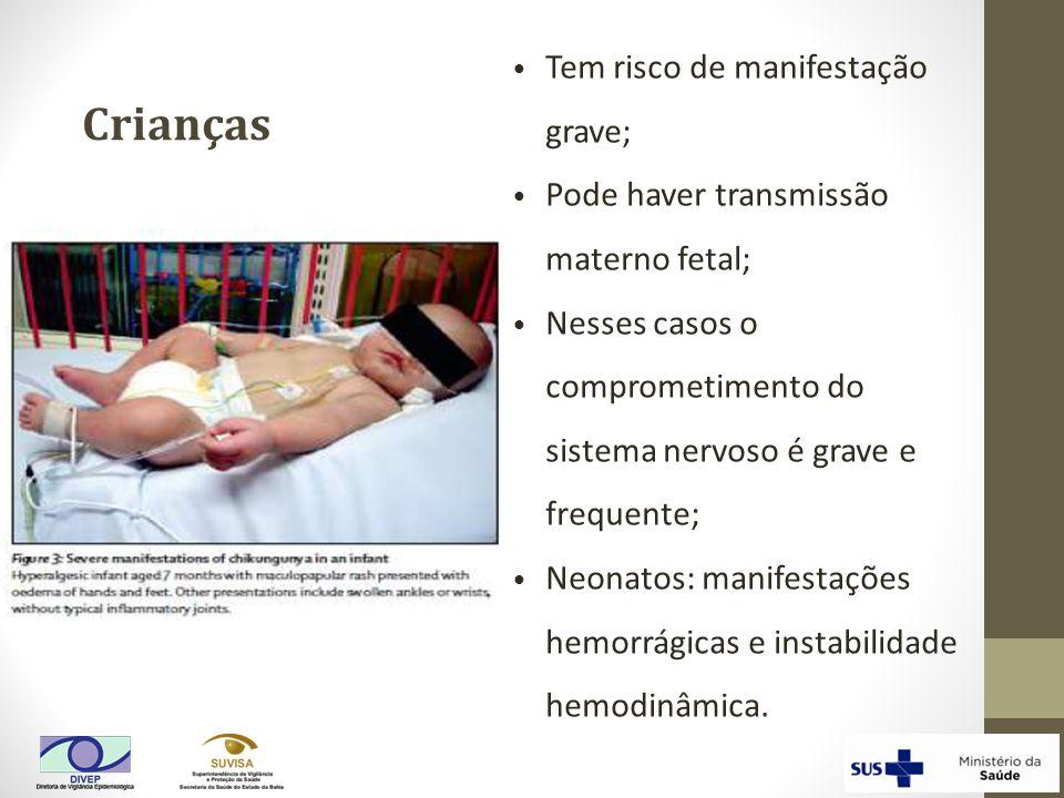 Crianças Tem risco de manifestação grave; Pode haver transmissão materno fetal; Nesses casos o comprometimento do sistema nervoso é grave e frequente;