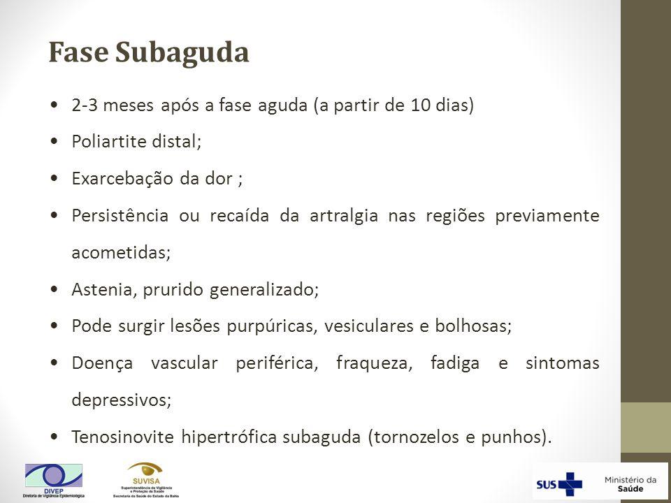 Fase Subaguda 2-3 meses após a fase aguda (a partir de 10 dias) Poliartite distal; Exarcebação da dor ; Persistência ou recaída da artralgia nas regiõ