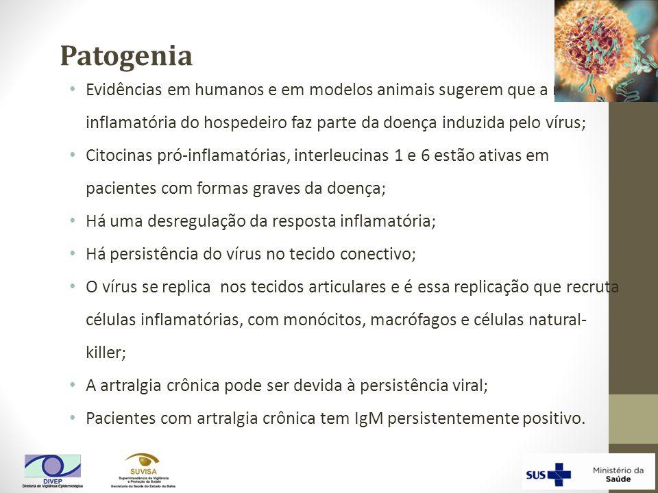Evidências em humanos e em modelos animais sugerem que a resposta inflamatória do hospedeiro faz parte da doença induzida pelo vírus; Citocinas pró-in