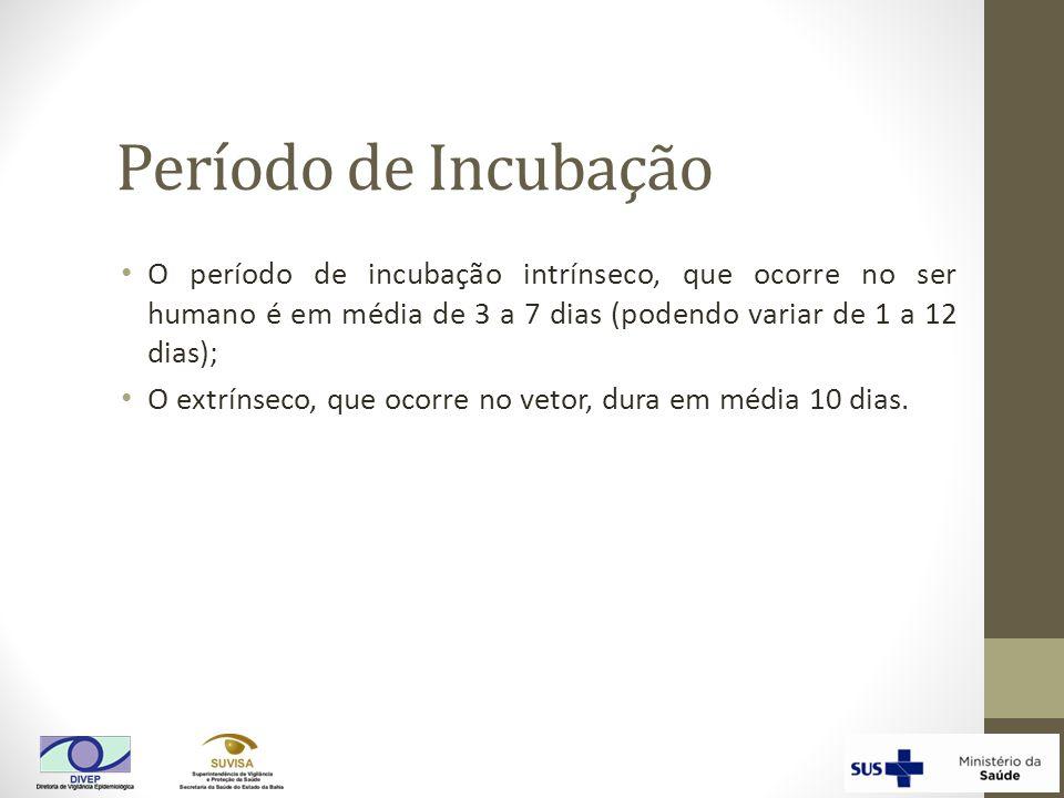 Período de Incubação O período de incubação intrínseco, que ocorre no ser humano é em média de 3 a 7 dias (podendo variar de 1 a 12 dias); O extrínsec