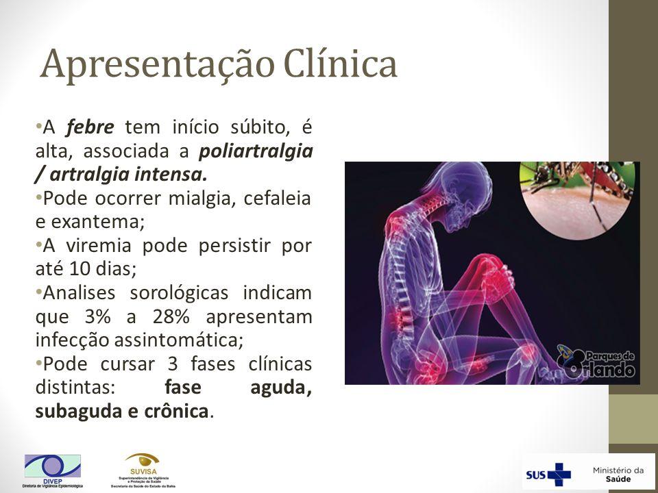 Apresentação Clínica A febre tem início súbito, é alta, associada a poliartralgia / artralgia intensa. Pode ocorrer mialgia, cefaleia e exantema; A vi