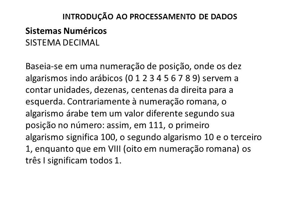 Sistemas Numéricos SISTEMA DECIMAL Baseia-se em uma numeração de posição, onde os dez algarismos indo arábicos (0 1 2 3 4 5 6 7 8 9) servem a contar u
