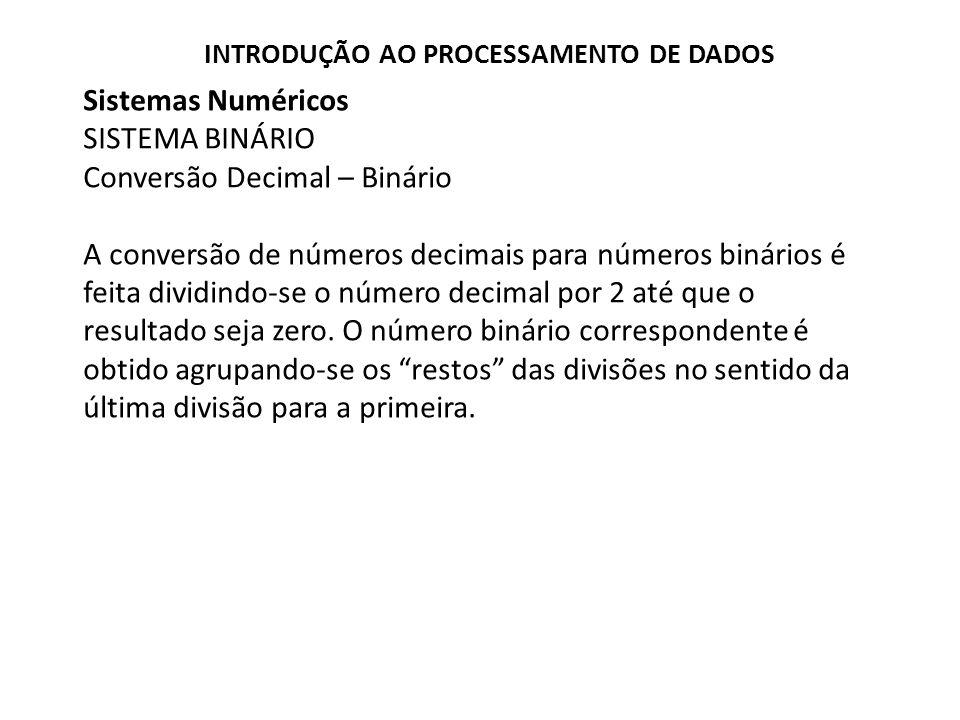 Sistemas Numéricos SISTEMA BINÁRIO Conversão Decimal – Binário A conversão de números decimais para números binários é feita dividindo-se o número dec