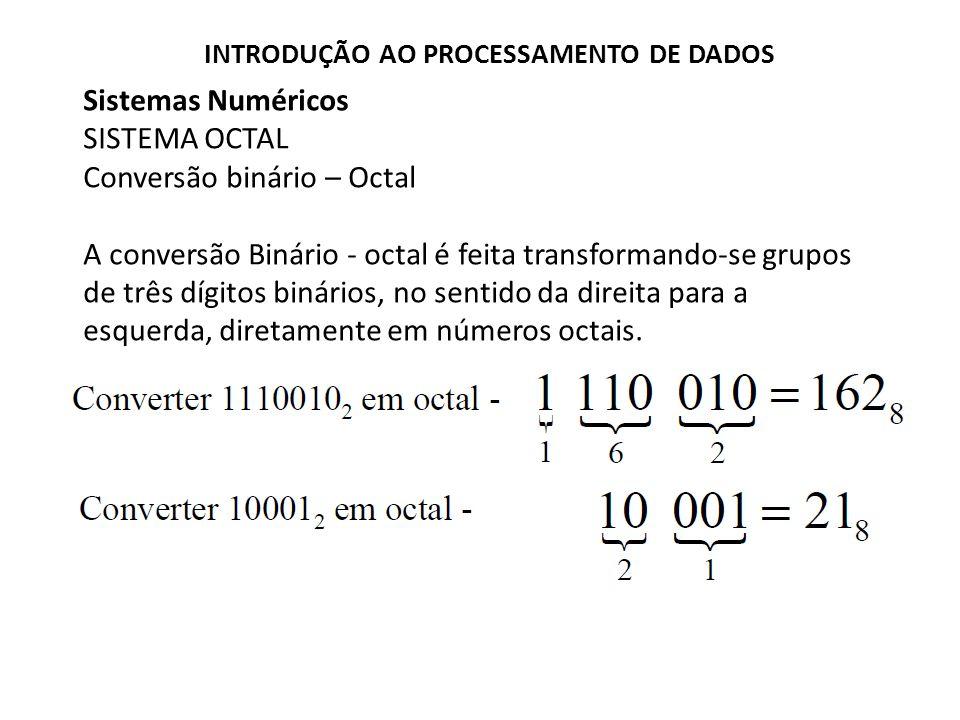Sistemas Numéricos SISTEMA OCTAL Conversão binário – Octal A conversão Binário - octal é feita transformando-se grupos de três dígitos binários, no se