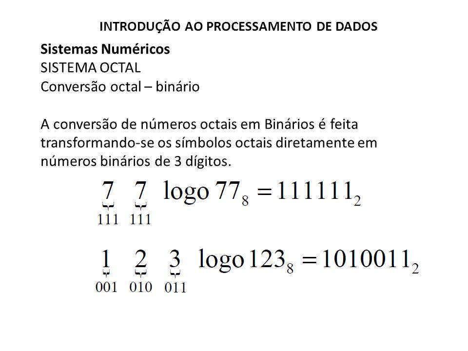 Sistemas Numéricos SISTEMA OCTAL Conversão octal – binário A conversão de números octais em Binários é feita transformando-se os símbolos octais diret