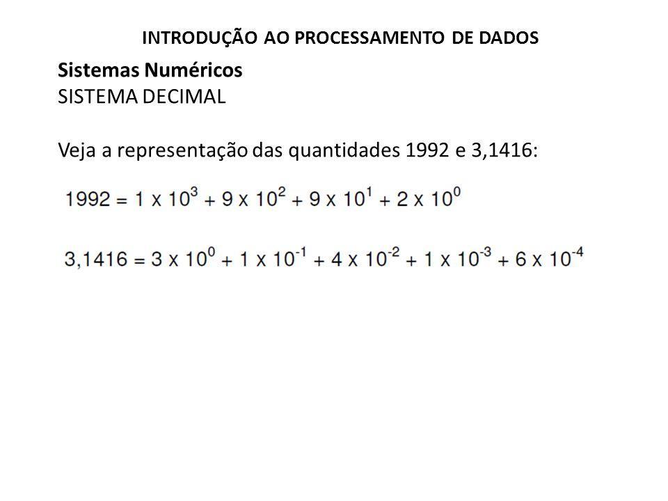 Sistemas Numéricos SISTEMA DECIMAL Veja a representação das quantidades 1992 e 3,1416: INTRODUÇÃO AO PROCESSAMENTO DE DADOS