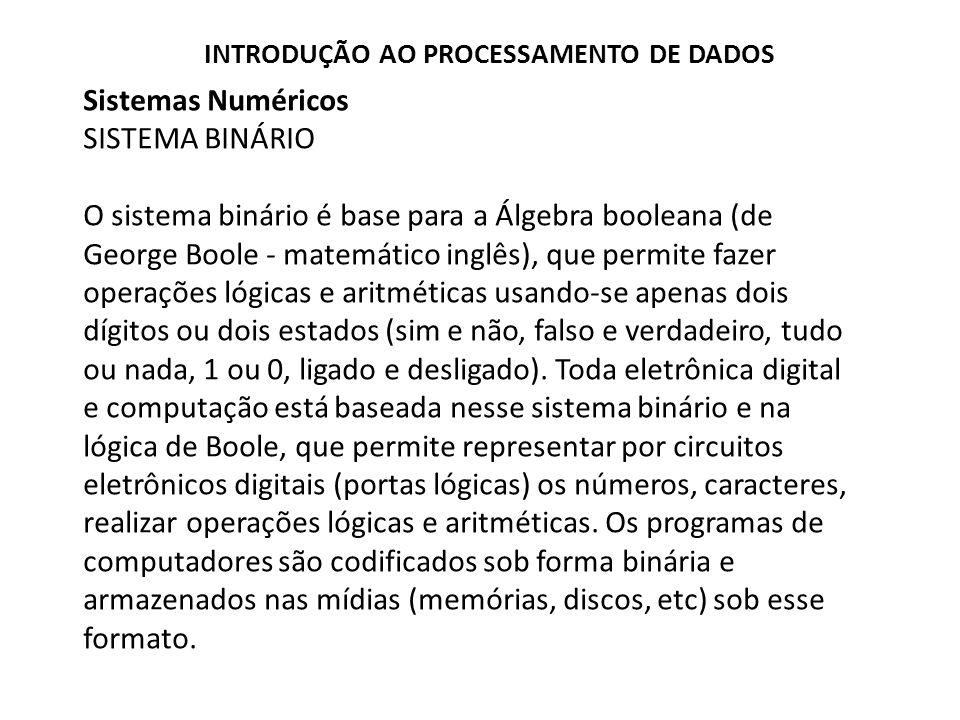 Sistemas Numéricos SISTEMA BINÁRIO O sistema binário é base para a Álgebra booleana (de George Boole - matemático inglês), que permite fazer operações