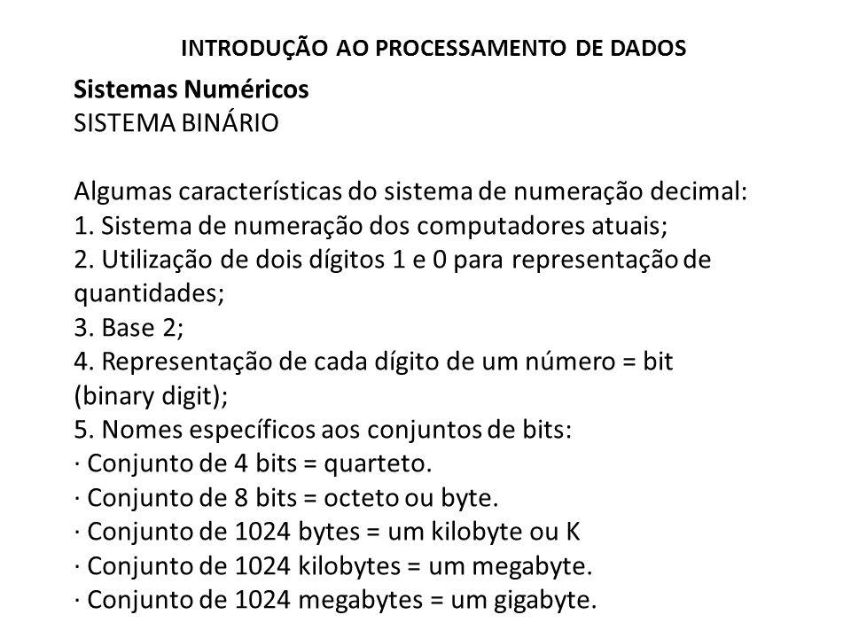 Sistemas Numéricos SISTEMA BINÁRIO Algumas características do sistema de numeração decimal: 1. Sistema de numeração dos computadores atuais; 2. Utiliz