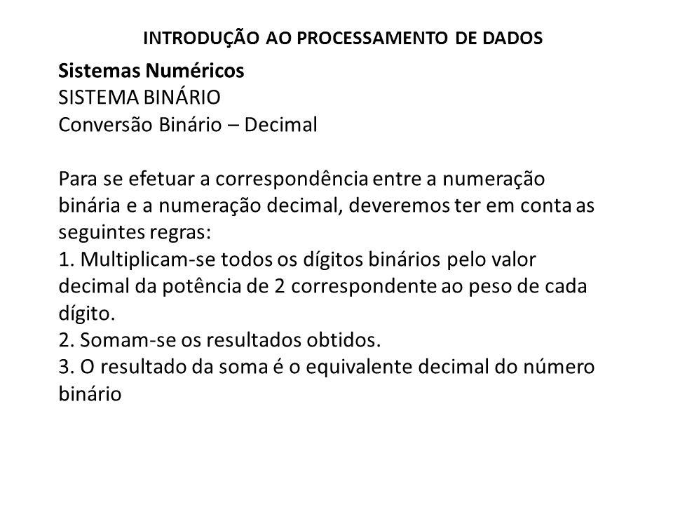 Sistemas Numéricos SISTEMA BINÁRIO Conversão Binário – Decimal Para se efetuar a correspondência entre a numeração binária e a numeração decimal, deve