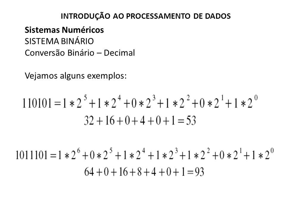 Sistemas Numéricos SISTEMA BINÁRIO Conversão Binário – Decimal Vejamos alguns exemplos: INTRODUÇÃO AO PROCESSAMENTO DE DADOS