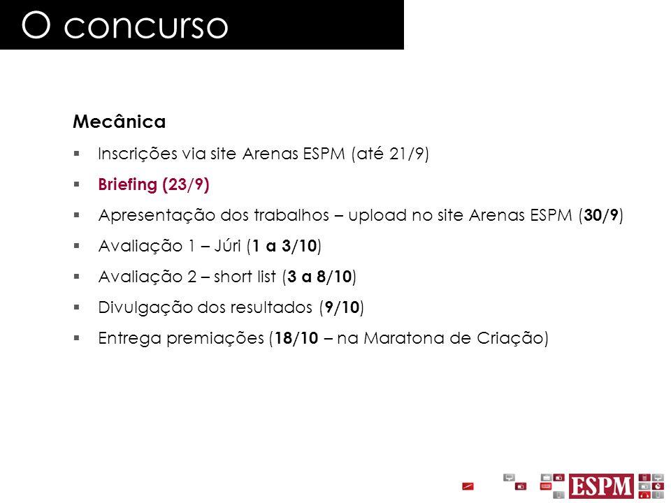 O concurso Mecânica  Inscrições via site Arenas ESPM (até 21/9)  Briefing (23/9)  Apresentação dos trabalhos – upload no site Arenas ESPM ( 30/9 )