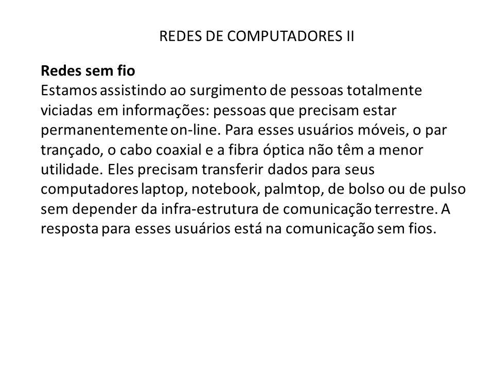 REDES DE COMPUTADORES II Redes sem fio O uso de microondas também é relativamente econômico.