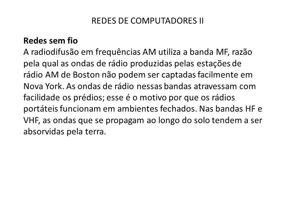 REDES DE COMPUTADORES II Redes sem fio A radiodifusão em frequências AM utiliza a banda MF, razão pela qual as ondas de rádio produzidas pelas estaçõe