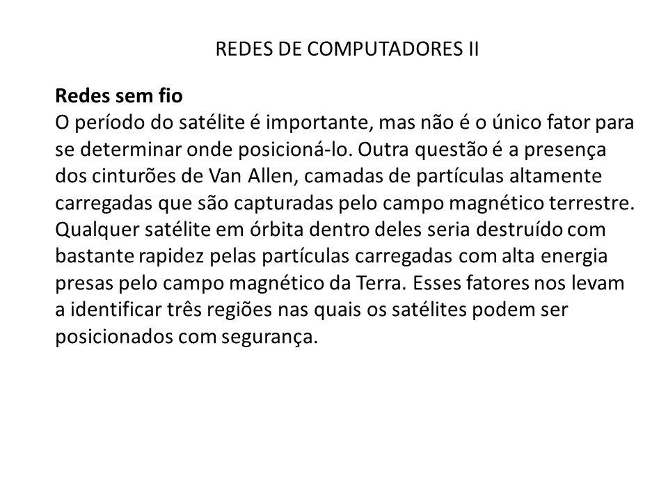 REDES DE COMPUTADORES II Redes sem fio O período do satélite é importante, mas não é o único fator para se determinar onde posicioná-lo. Outra questão