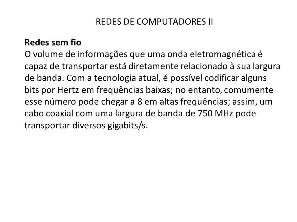 REDES DE COMPUTADORES II Redes sem fio Ao contrário das ondas de rádio nas frequências mais baixas, as microondas não atravessam muito bem as paredes dos edifícios.