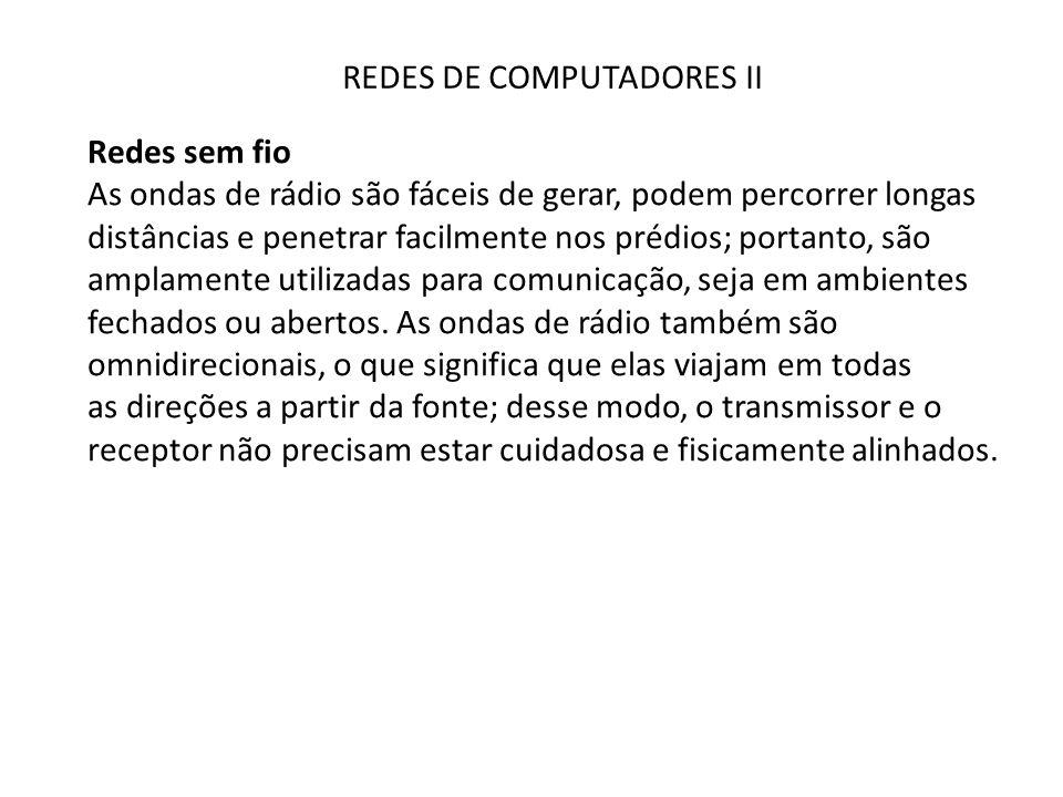 REDES DE COMPUTADORES II Redes sem fio Vale lembrar que o rádio omnidirecional nem sempre é bom.