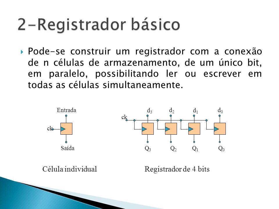  Pode-se construir um registrador com a conexão de n células de armazenamento, de um único bit, em paralelo, possibilitando ler ou escrever em todas as células simultaneamente.