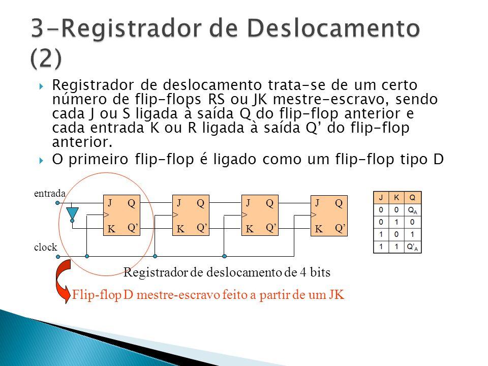  Registrador de deslocamento trata-se de um certo número de flip-flops RS ou JK mestre-escravo, sendo cada J ou S ligada à saída Q do flip-flop anterior e cada entrada K ou R ligada à saída Q' do flip-flop anterior.