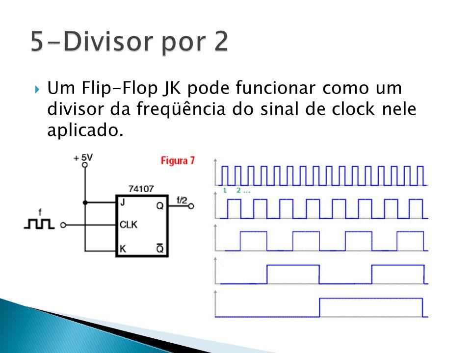  Um Flip-Flop JK pode funcionar como um divisor da freqüência do sinal de clock nele aplicado.