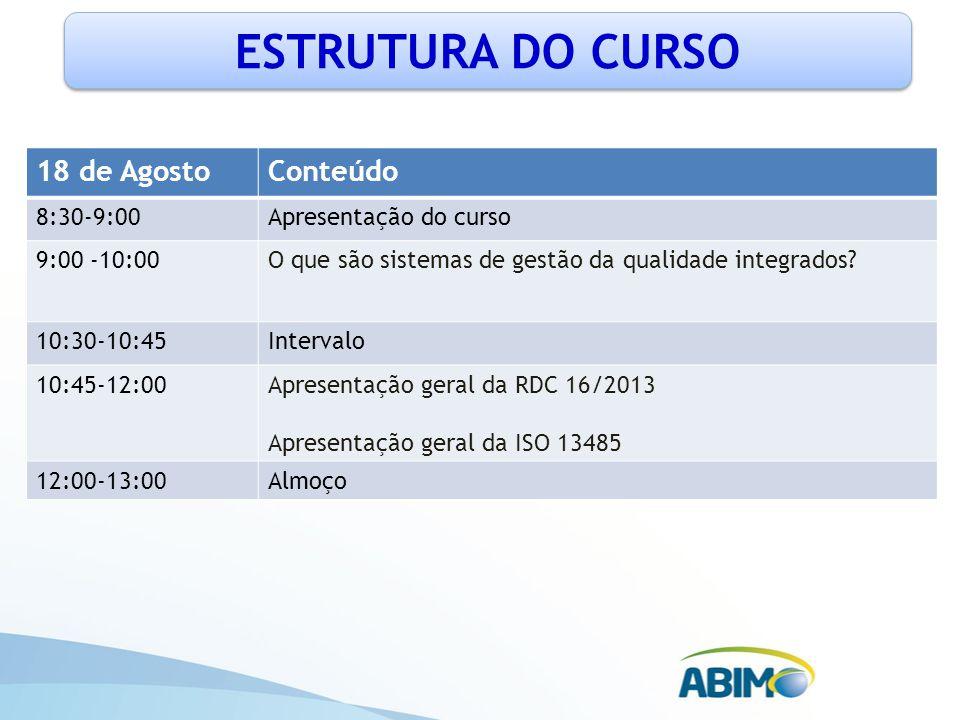 ESTRUTURA DO CURSO 18 de AgostoConteúdo 8:30-9:00Apresentação do curso 9:00 -10:00O que são sistemas de gestão da qualidade integrados? 10:30-10:45Int
