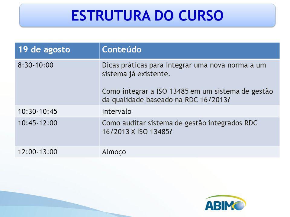 ESTRUTURA DO CURSO 19 de agostoConteúdo 13:00-15:00Prática de auditoria em sistema de gestão integrados RDC 16/2013 X ISO 13485 15:00-15:15Intervalo 15:15-16:00Esclarecimento de dúvidas e revisão geral 16:00-17:30Avaliação, entrega de certificados e despedida