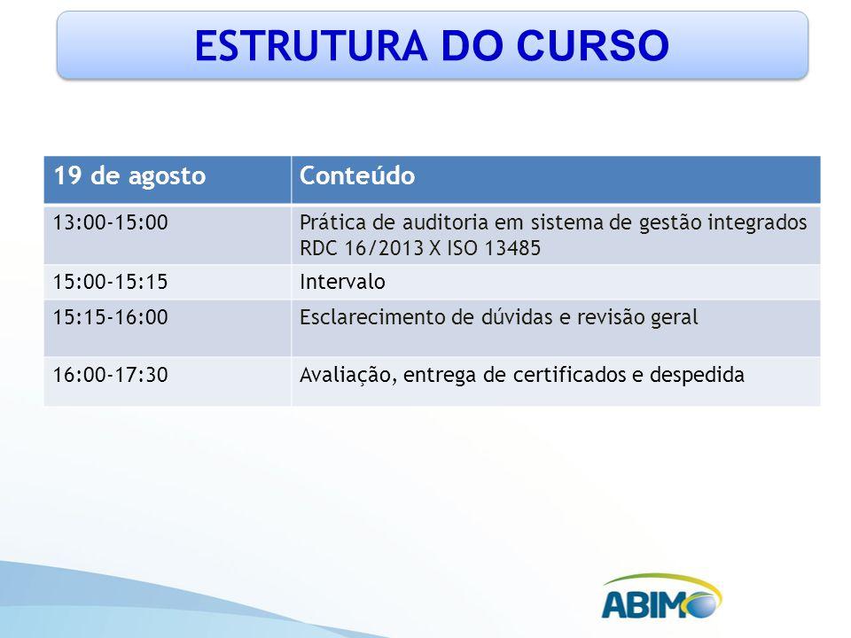 ESTRUTURA DO CURSO 19 de agostoConteúdo 13:00-15:00Prática de auditoria em sistema de gestão integrados RDC 16/2013 X ISO 13485 15:00-15:15Intervalo 1