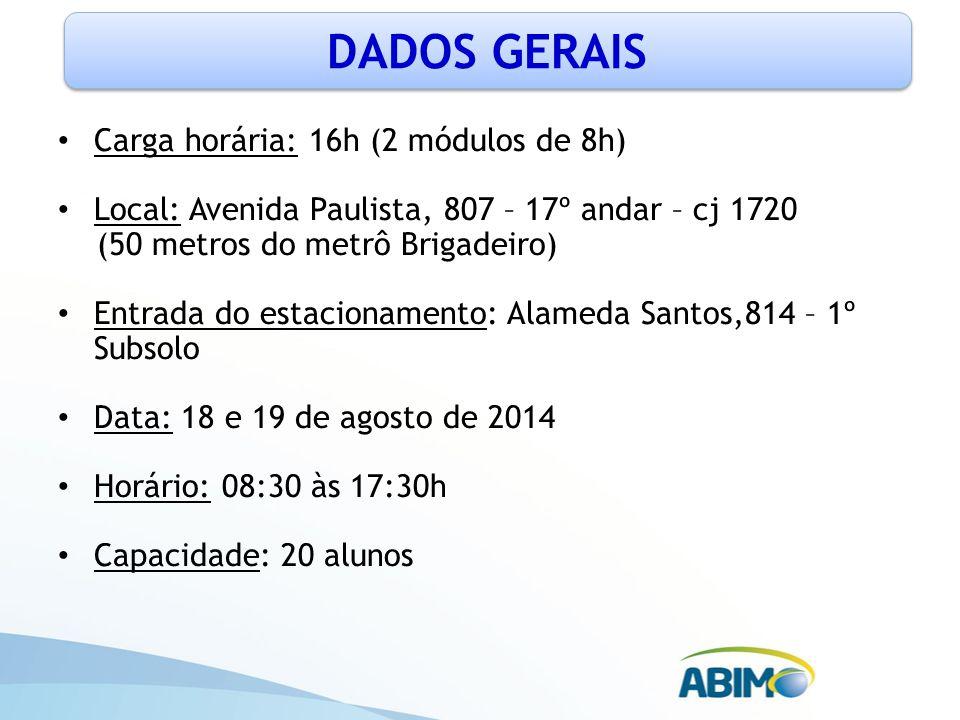 Carga horária: 16h (2 módulos de 8h) Local: Avenida Paulista, 807 – 17º andar – cj 1720 (50 metros do metrô Brigadeiro) Entrada do estacionamento: Ala