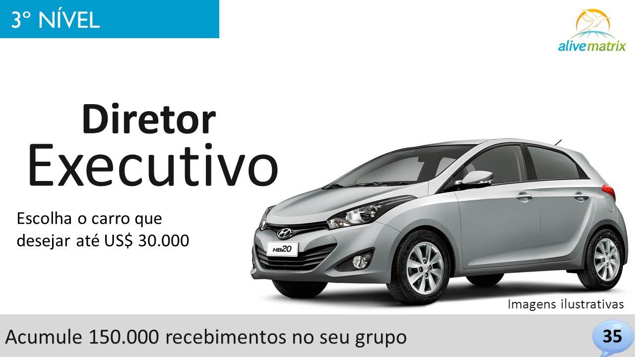 35 3º NÍVEL Executivo Diretor Escolha o carro que desejar até US$ 30.000 Imagens ilustrativas Acumule 150.000 recebimentos no seu grupo