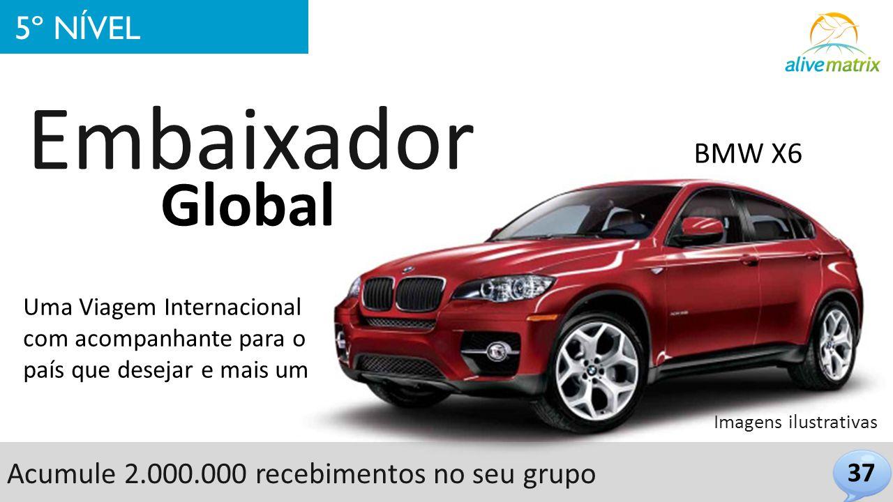 37 5º NÍVEL Embaixador Global BMW X6 Uma Viagem Internacional com acompanhante para o país que desejar e mais um Imagens ilustrativas Acumule 2.000.00