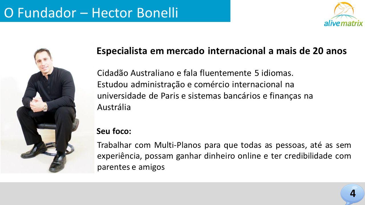 O Fundador – Hector Bonelli Especialista em mercado internacional a mais de 20 anos 4 Cidadão Australiano e fala fluentemente 5 idiomas. Estudou admin