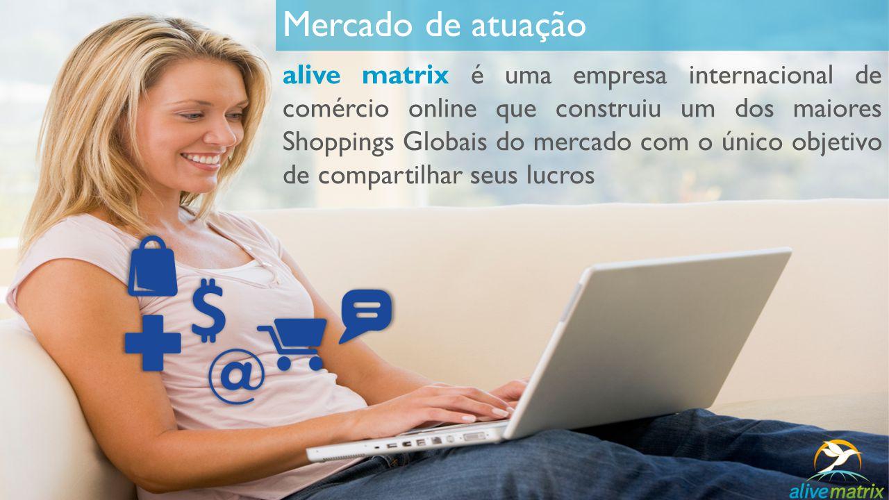 Mercado de atuação alive matrix é uma empresa internacional de comércio online que construiu um dos maiores Shoppings Globais do mercado com o único o
