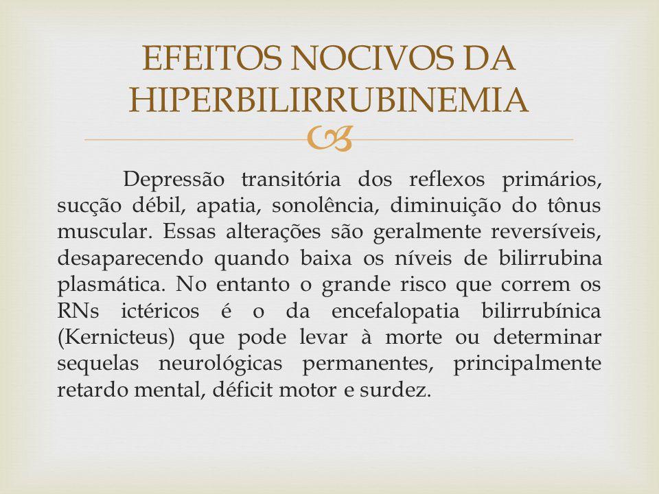  Depressão transitória dos reflexos primários, sucção débil, apatia, sonolência, diminuição do tônus muscular. Essas alterações são geralmente revers