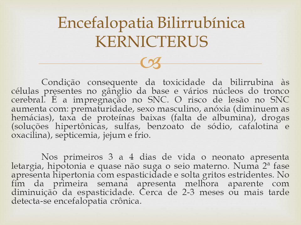  Condição consequente da toxicidade da bilirrubina às células presentes no gânglio da base e vários núcleos do tronco cerebral. É a impregnação no SN