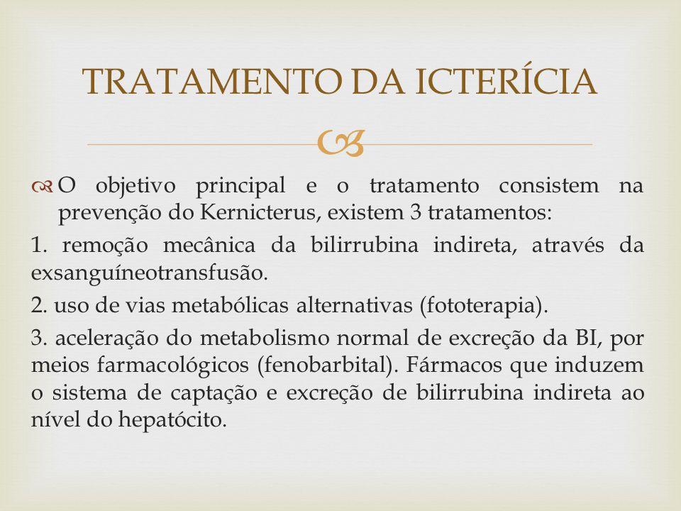   O objetivo principal e o tratamento consistem na prevenção do Kernicterus, existem 3 tratamentos: 1. remoção mecânica da bilirrubina indireta, atr