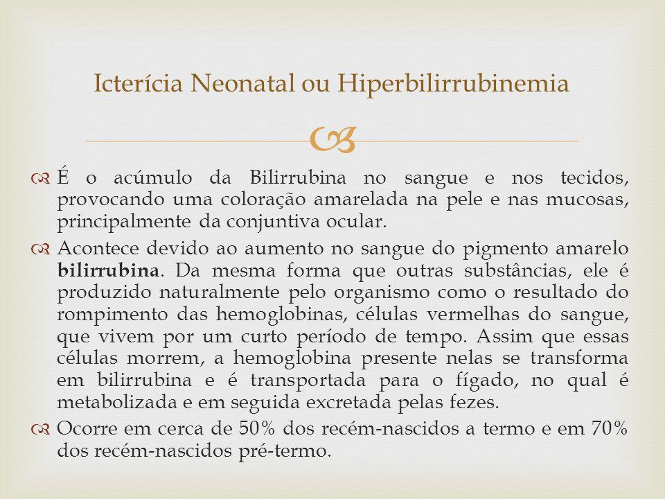   É o acúmulo da Bilirrubina no sangue e nos tecidos, provocando uma coloração amarelada na pele e nas mucosas, principalmente da conjuntiva ocular.